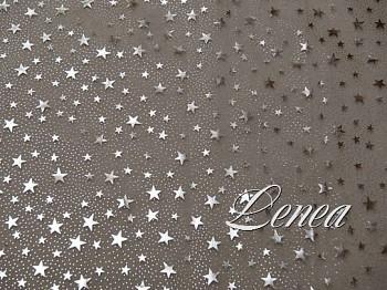 Vánoční organza A1-bílá s hvězdičkami