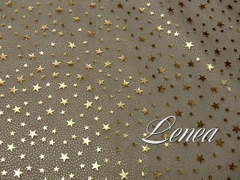 Vánoční organza A1-zlatá s hvězdičkami