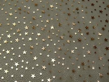 Vánoční organza A1-zelená s hvězdičkami