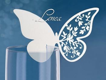Jmenovka na sklenici s motýlkem -bal.10ks