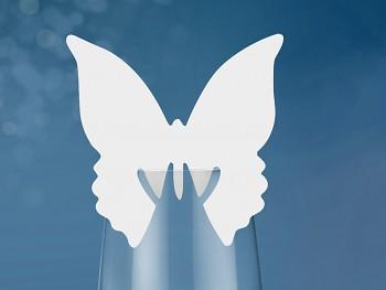 Jmenovka na sklenici s motýlkem-plný -bal.10ks