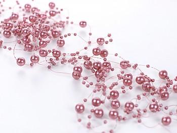 Perličky na silonu-starorůžové 5ks
