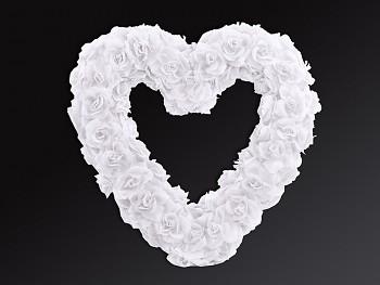 Srdce na auto z růží bílé 40cm