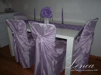 Svatební potah na židli Romantik světle fialový-zapůjčení