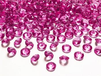 Dekorační mini diamanty tmavě růžové-bal.100ks