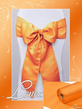 Saténová mašle na židli oranžová -zapůjčení (mašli si půjčuji s potahem na židli)