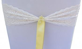 Krajková mašle smetanová s broží a světle žlutou stužkou-zapůjčení