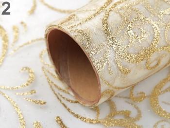 Organza zlatá svatební s glitry