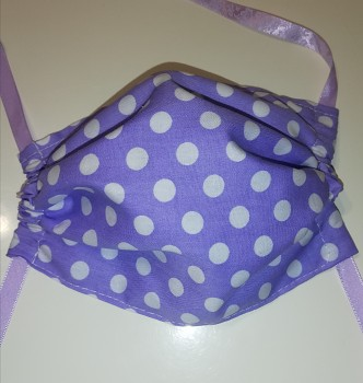 Rouška bavlněná-fialová s bílým puntíkem